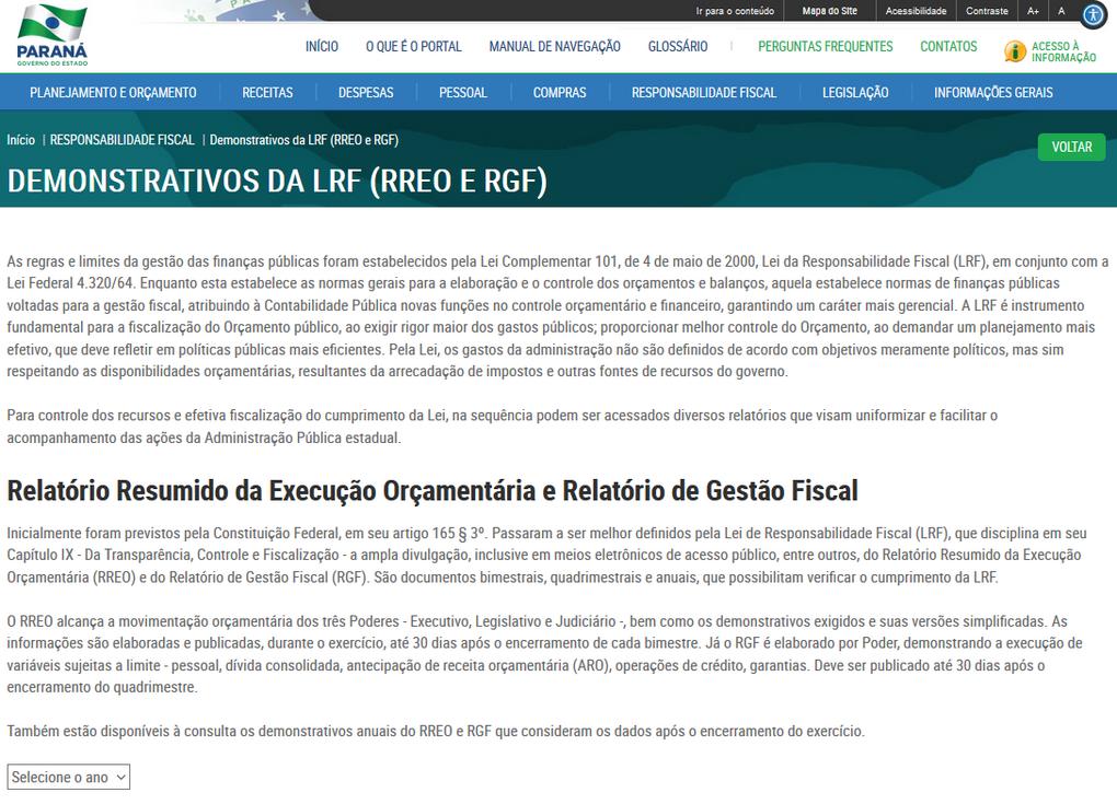 Imagens do Portal da Transparência do Paraná, assunto Responsabilidade Fiscal, tema Demonstrativos da LRF