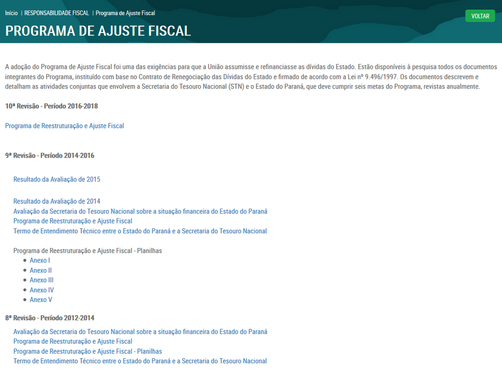 Imagens do Portal da Transparência do Estado do Paraná, assunto Responsabilidade Fiscal, consulta do Programa de Ajuste Fiscal