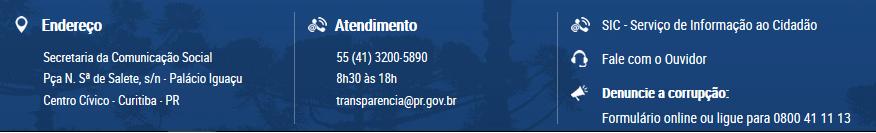 Rodapé do Portal da Transparência do Estado do Paraná