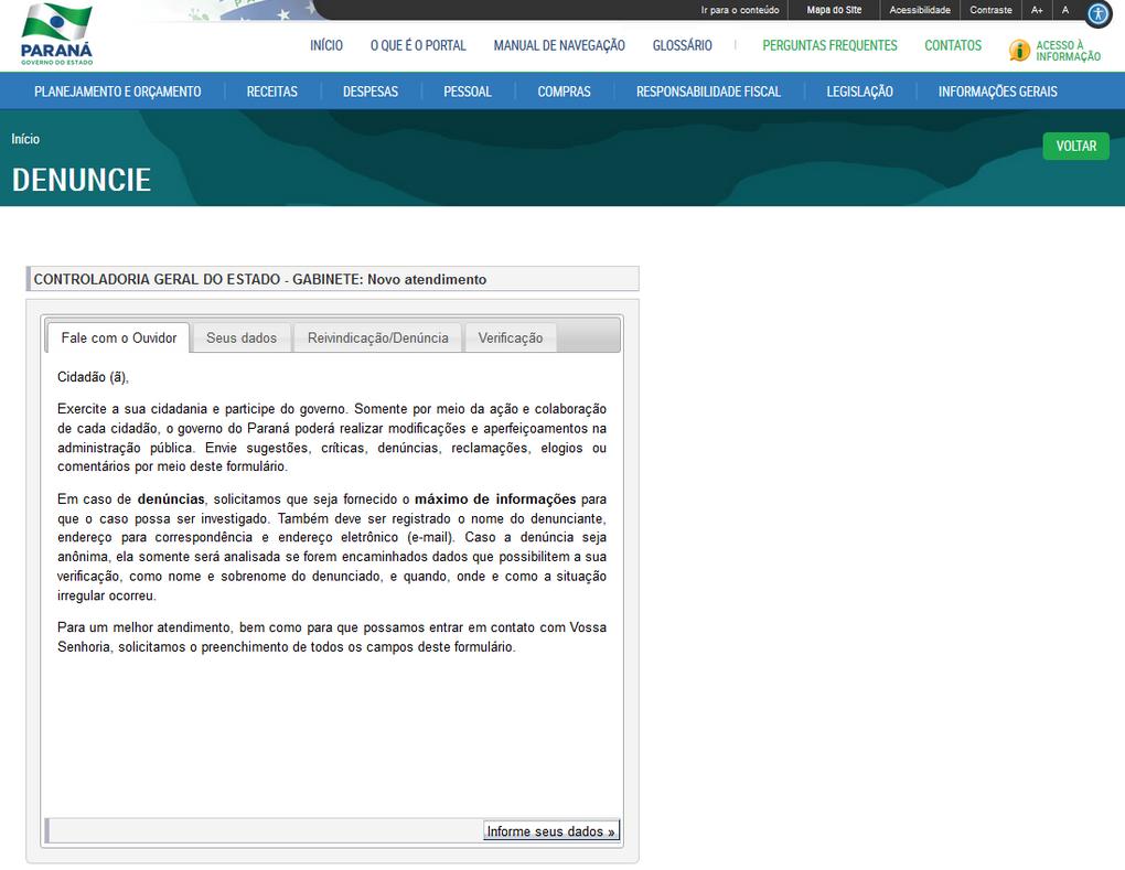 Manual de Navegação do Portal da Transparência, Rodapé, opção Denuncie